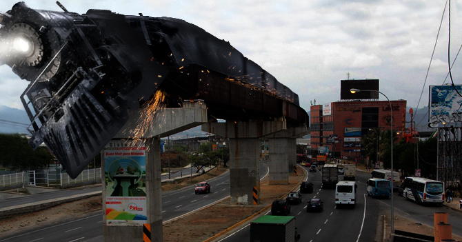 Expreso Polar se descarrila al intentar pasar por vías del metro de Guarenas