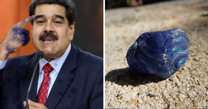 Maduro niega que líder de oposición que es una roca pintada de azul sea creación de él