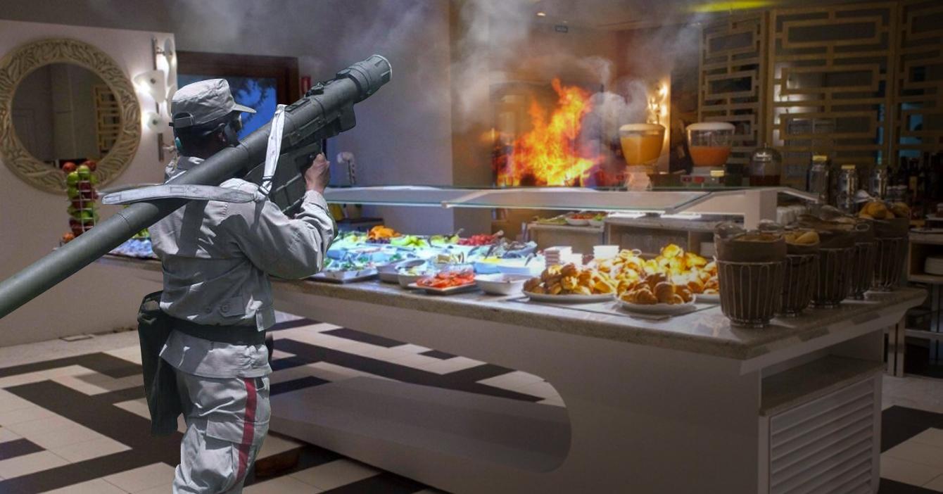 Miliciano ataca hotel con misiles por servir desayuno americano