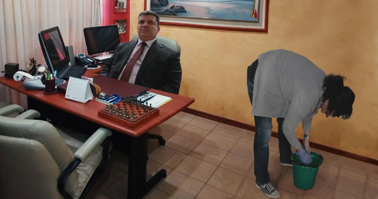 Señora de limpieza exige a Luis Parra que por favor salga de oficina de la AN