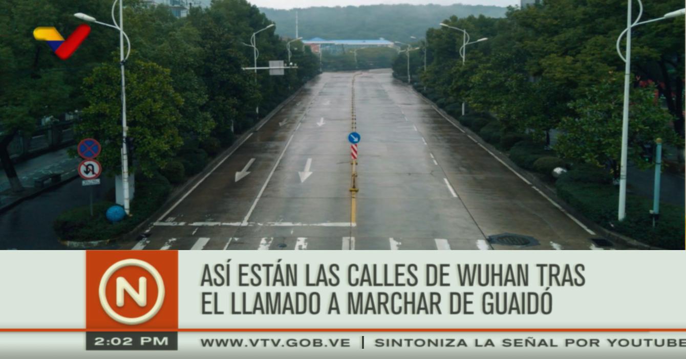 VTV: Así están las calles de Wuhan tras el llamado a marchar de Guaidó