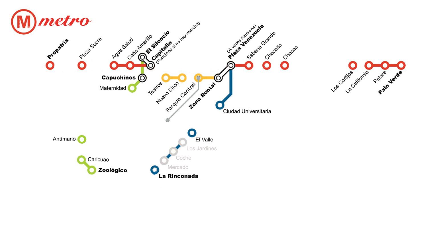 Metro de Caracas presenta nuevo mapa con estaciones que funcionan