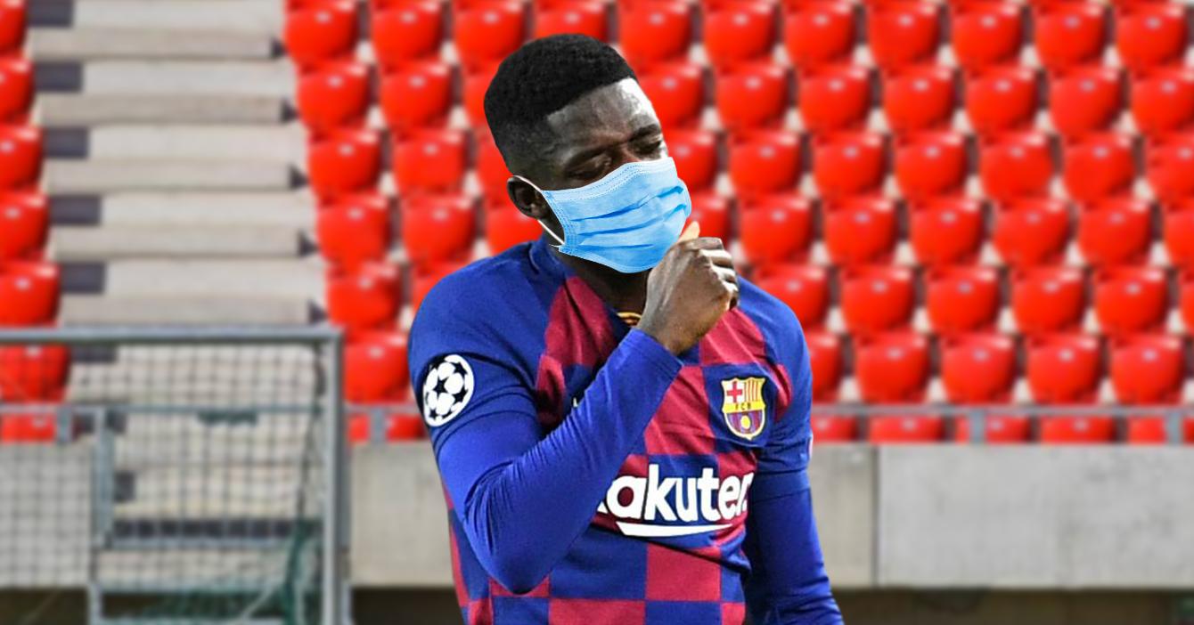 Dembélé se lesiona al ponerse el tapabocas