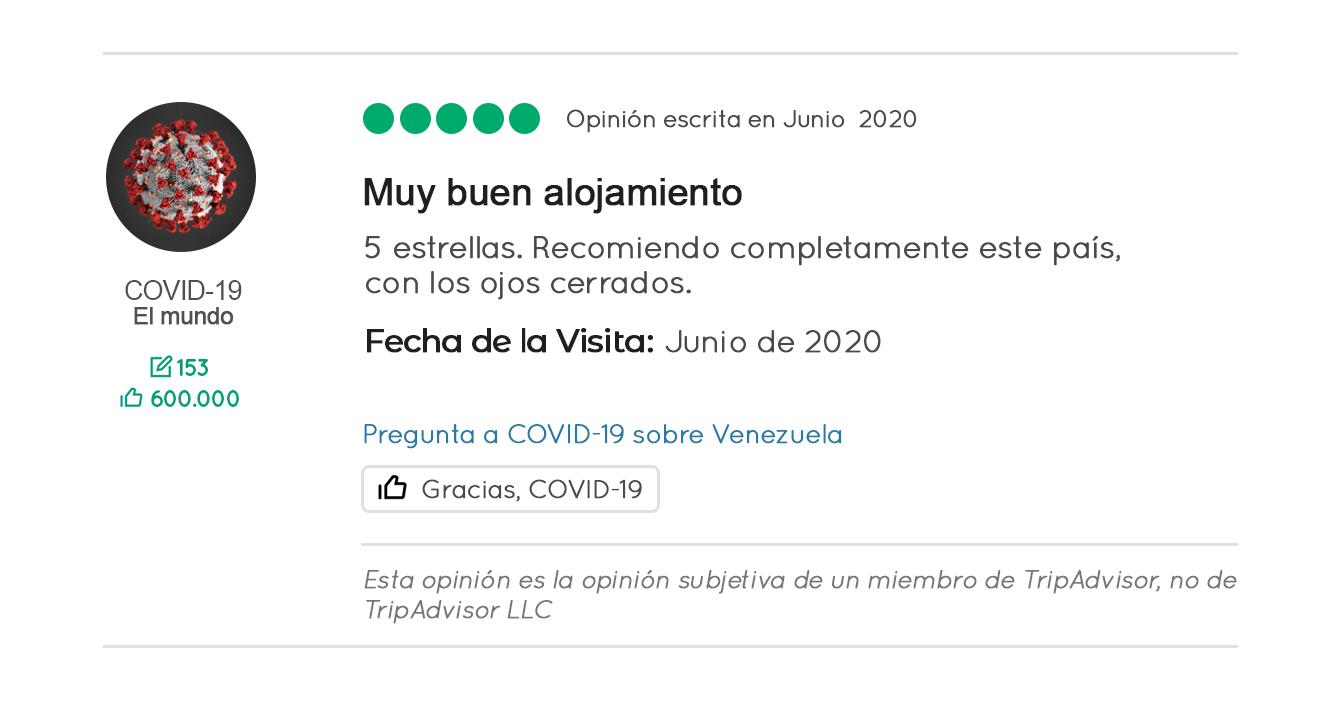 Coronavirus califica con 5 estrellas a Venezuela