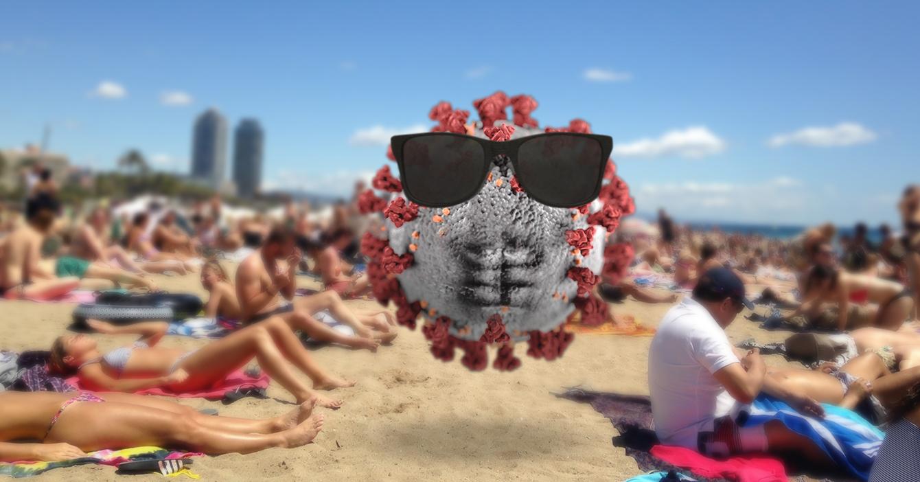 Coronavirus estrena su cuerpito de playa en Barcelona