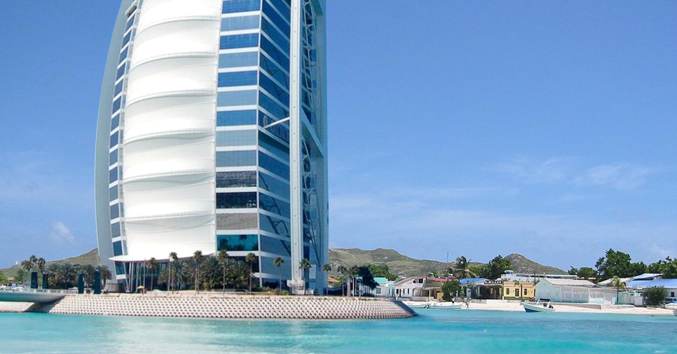 Enchufados construyen Burj Al Arab en Los Roques