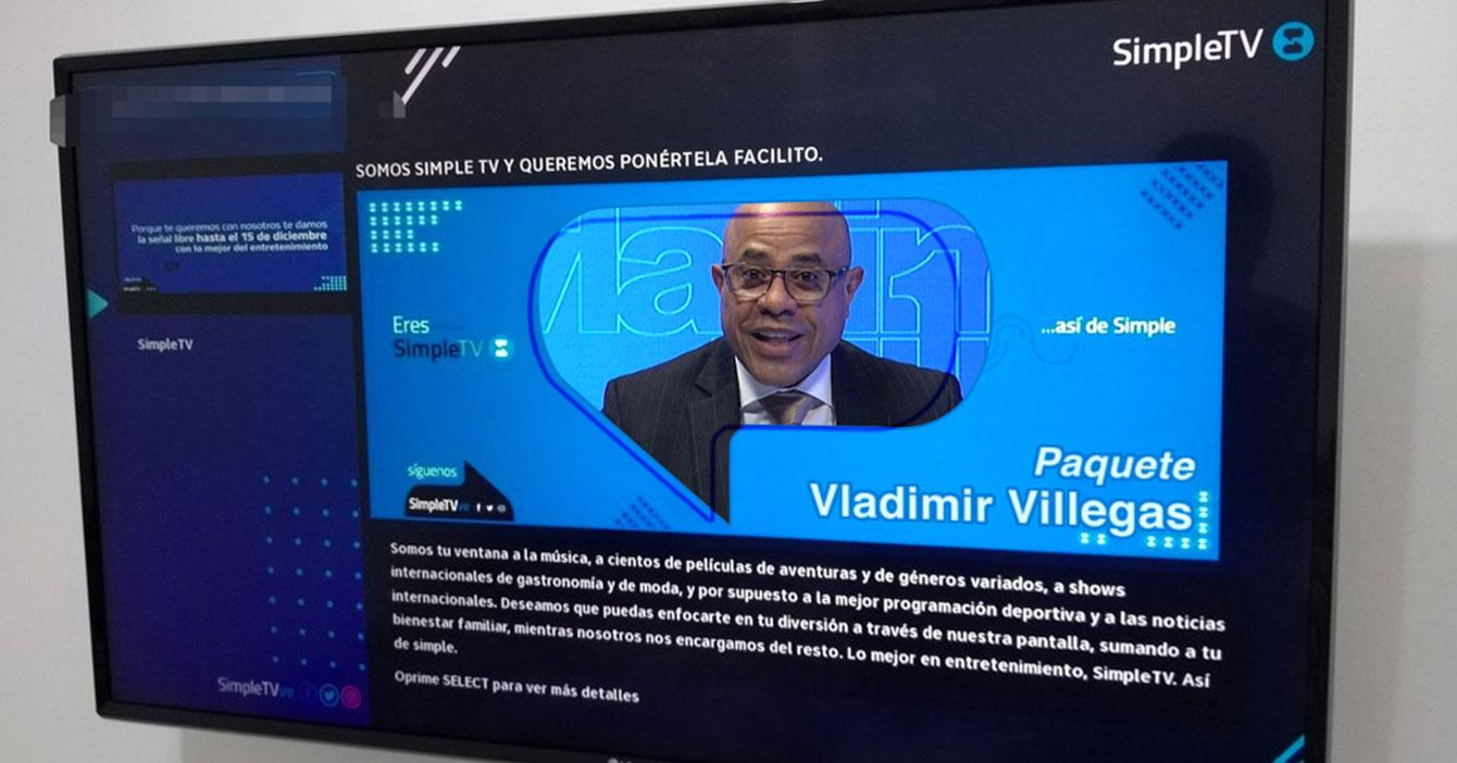 Simple TV anuncia el paquete Vladimir Villegas por solo $1.000 mensuales