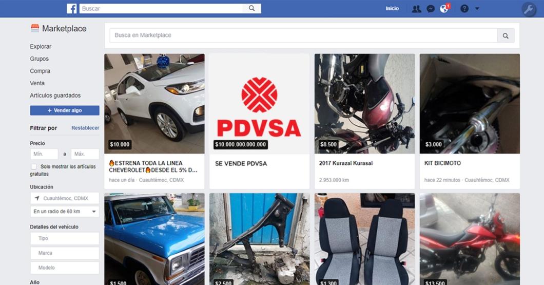 Gobierno pone a la venta a PDVSA en Facebook Marketplace