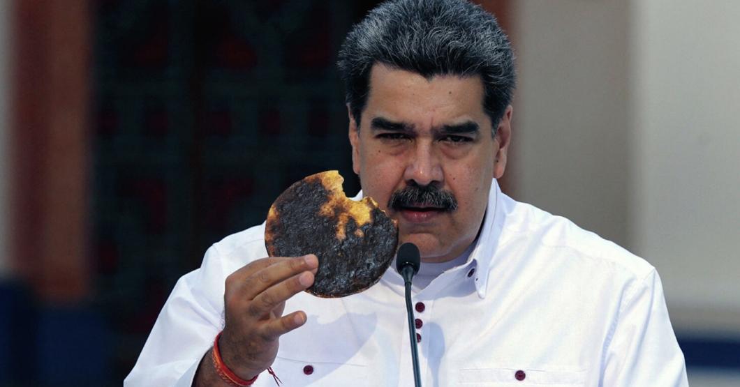 SOLIDARIO: Se le queman las arepas a Maduro y las ofrece como bono de la patria