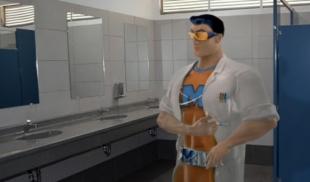 Atrapan a Mr. Músculo inyectándose esteroides en baño de gimnasio