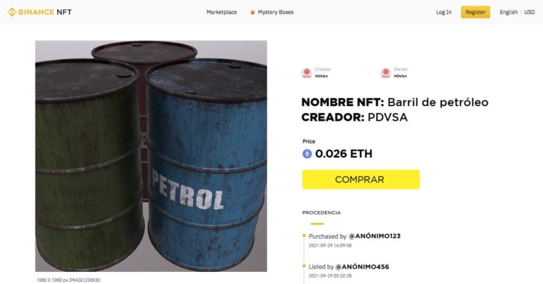 PDVSA pone a la venta petróleo NFT