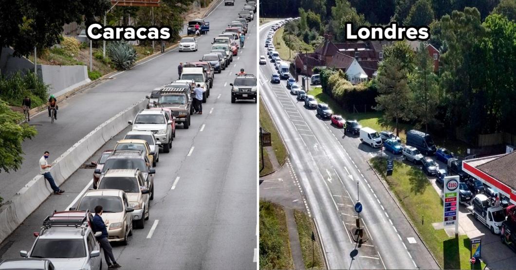 """Chama en cola de la gasolina asegura que """"se siente como en Londres"""""""